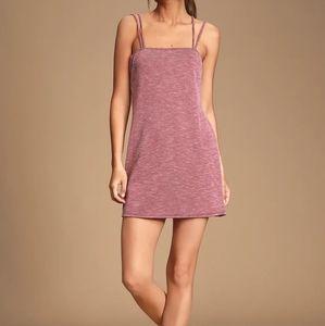 Washed Burgundy Ribbed Strappy Sheath Dress